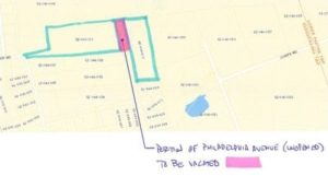The former paper road is shown in pink